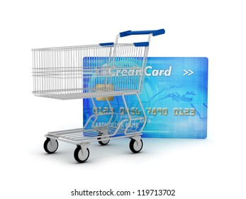 Credit card and shopping cart as a shopping concept