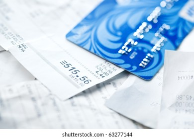 Credit card and shopping receipts.