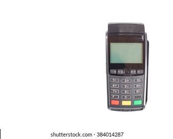 Credit card terminal isolated on white on right side of the picture