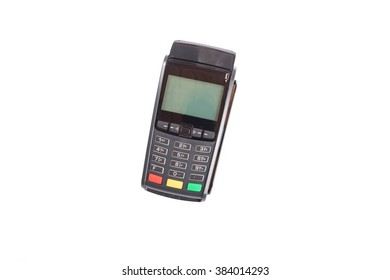 Credit card terminal isolated on white on center of the picture