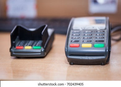 Credit card terminal in the shop and restaurant