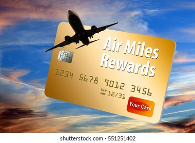 Credit card that provides air miles, frequent flier miles and rewards is shown with airplane and sky.