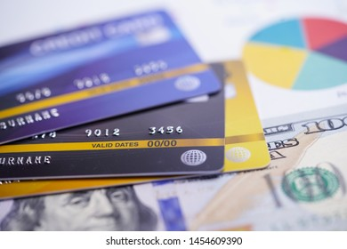 Credit card with US dollar banknotes. Finance development, Banking Account, Statistics, Investment Analytic research data economy, Stock exchange trading, Business company concept.