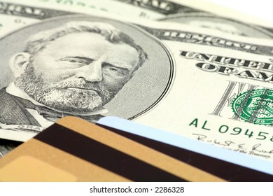 Credit card and us dollar,  concept of finance