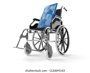 Credit card with wheelchair isolated on white background. 3d illustration