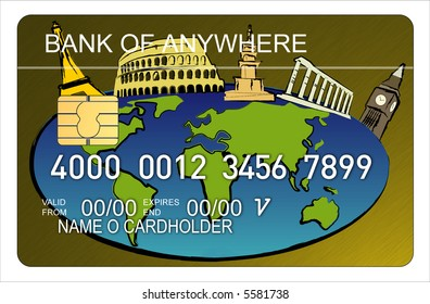 Credit card with world city icons