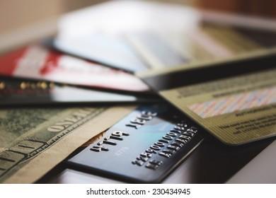 Credit cards and banknote (macro)