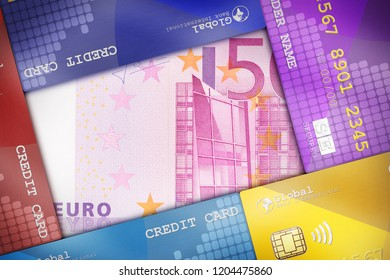 Credit Cards beautifully arranged to cover a money bill symbolizing financial concepts.