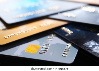 Credit cards, close up