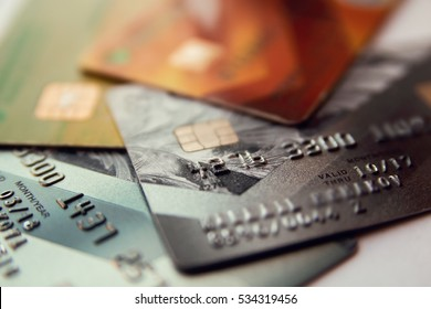 credit cards, close up view with selective focus