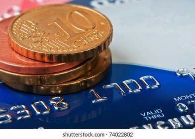 Credit cards and coins euru cent.