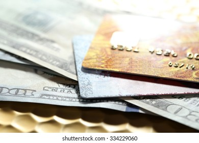 Credit cards and dollars background, macro