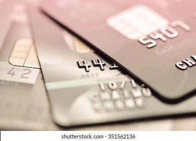 credit cards macro shot