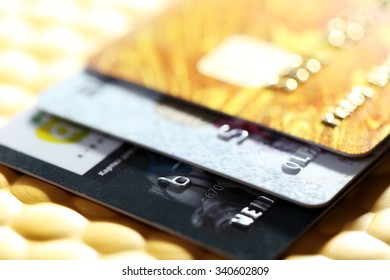 Credit cards on golden background