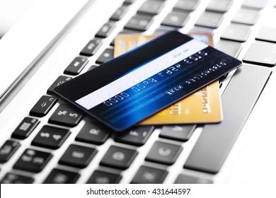 Credit cards on keyboard, closeup