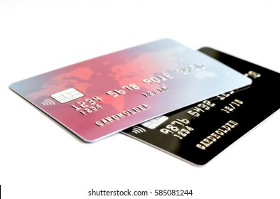 Credit cards on white background - online shopping