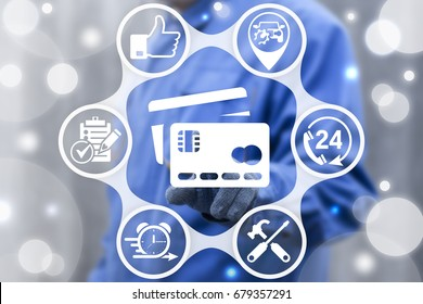 Credit Cards Online Payment Auto Service Business Finance Web concept. Repairer man presses bank card button on virtual touch screen. Pay car repair.
