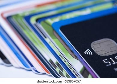Credit cards pile shallow dof