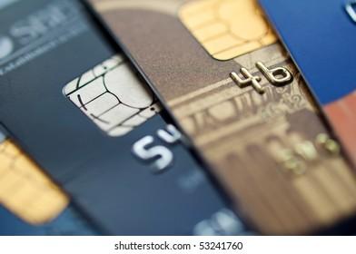 credit cards, selective focus. closeup.