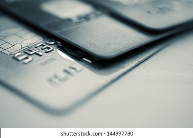 Credit cards in shallow focus