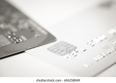 Credit cards with shallow focus in black and white picture