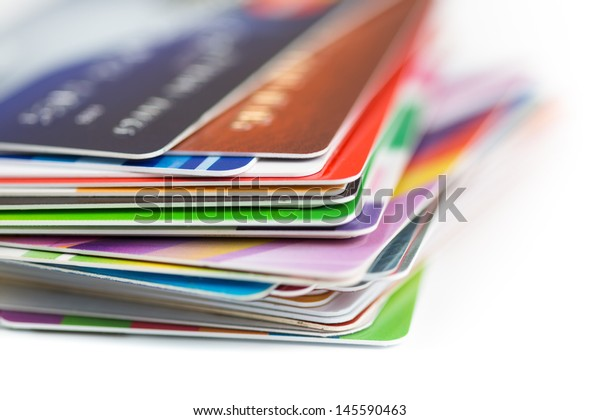 credit cards stack close up