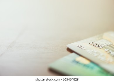 Credit cards stacked up close - Split toned