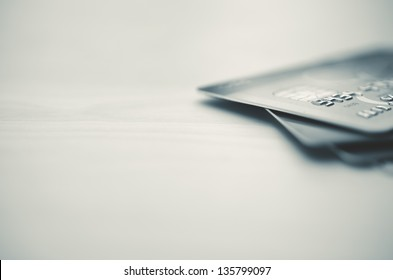 Credit cards in very shallow focus