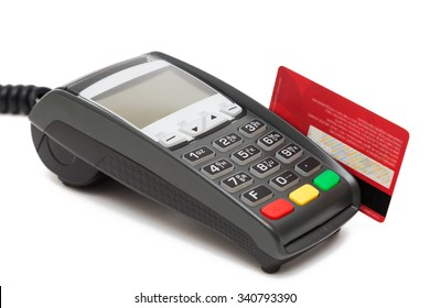 Credit cart terminal and red credit card on white background