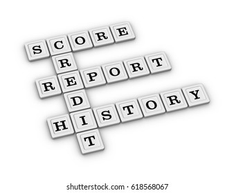 Credit crossword - Score, Report, History. 3D illustration on white background.