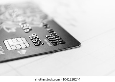 Credit and debit card of bank. Close up. Copy space
