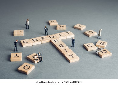 Credit and debit - financial balance concept