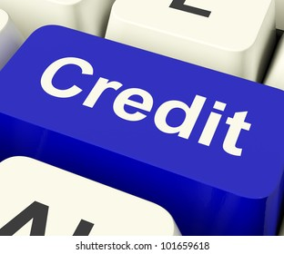 Credit Key Represents Finance Or Loan For Purchases