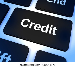 Credit Key Represents Finance Or Loan For Purchasing