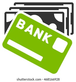 Credit Money icon. Glyph style is bicolor flat iconic symbol with rounded angles, eco green and gray colors, white background.