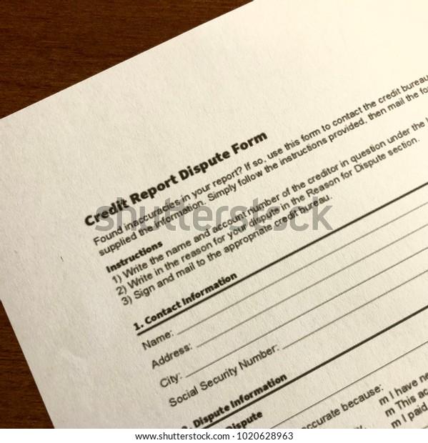Credit Report Dispute >> Credit Report Dispute Form Stock Photo Edit Now 1020628963