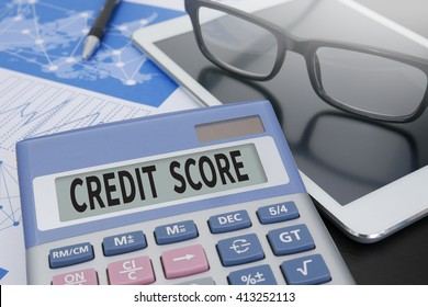 CREDIT SCORE Calculator  on table with Office Supplies. ipad
