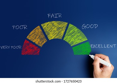 credit score concept, male hand draws a chart with credit history values.