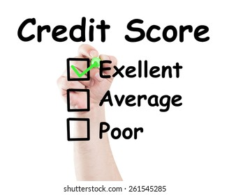 Credit score excelent checked box made by hand using a marker on transparent wipe board with white background