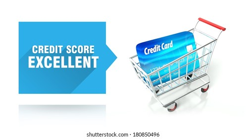 Credit score excellent concept with shopping cart