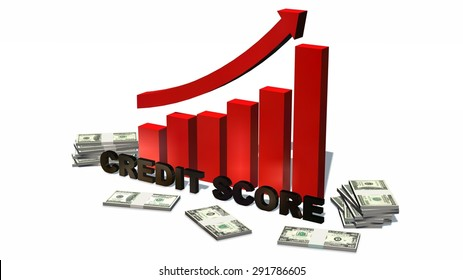 Credit Score Increasing bar graph with stack of 100 dollar bills - isolated