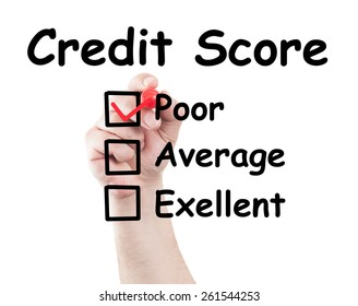 Credit score poor checked box made by hand using a marker on transparent wipe board with white background