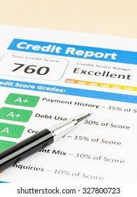 Credit score report with pen