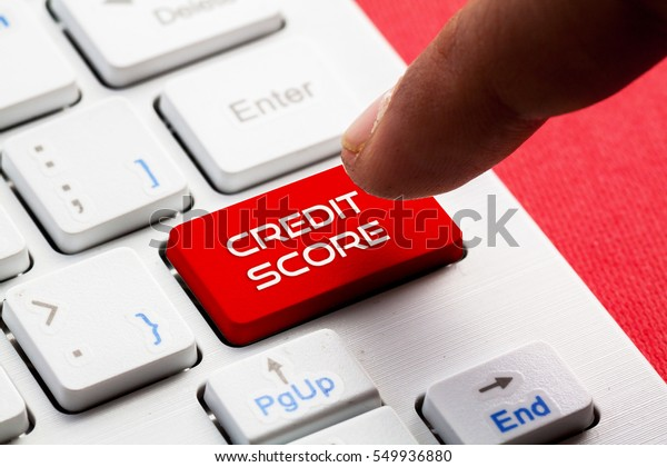 CREDIT SCORE word concept button on keyboard