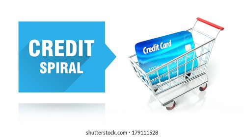 Credit spiral concept with shopping cart