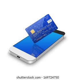 creditcard with smartphone,cell phone illustration