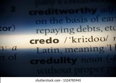 credo word in a dictionary. credo concept, definition.