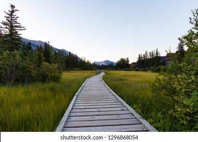 Policeman's Creek Boardwalk is an easy and scenic walk in the middle of Canmore town, Canadian Rockies, Rocky Mountains, Canmore, Travel Alberta, Canada, North America