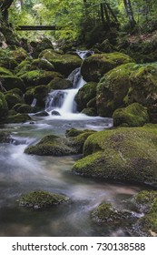 A creek flowing through green stones with moss. Flowing stream, long exposure, flowing water.