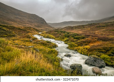Creek in the Mountain pass over Sognefjellet providing access to Jotunheimen and Jostedalsbreen National Parks, Norway. Long exposure.